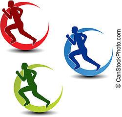 silhouette, coureur, symbole, -, vecteur, fitness, circulaire