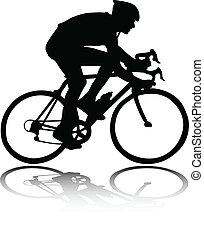 silhouette, cycliste