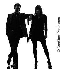 silhouette, détective, top secret, homme, couple, femme, criminel, agent