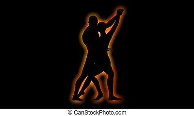 silhouette, danse, couple, capable, tourner, boucle