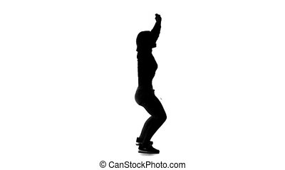 silhouette, danse vigoureusement, arrière-plan noir, blanc, girl