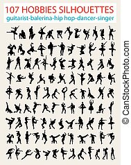 silhouette, danseur, moderne, 107
