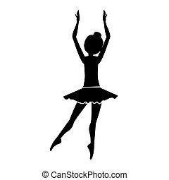 silhouette, derrière, danseur, clears, position, cinquième