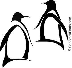 silhouette, deux, manchots