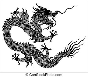 silhouette, dragon chinois