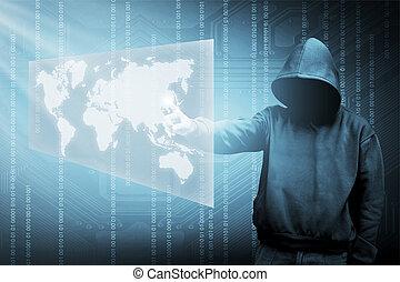 silhouette, encapuchonné, pirate informatique, informatique, homme