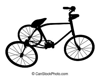 silhouette, enfants, bicycle.