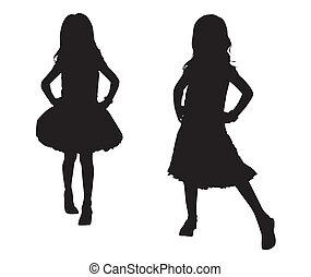 silhouette, enfants, heureux