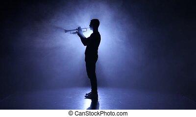 silhouette, enfumé, musicien, studio, instrument, professionnel, jouer, vent