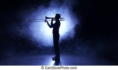 silhouette, enfumé, studio, instrument, trombone, jouer, vent, homme