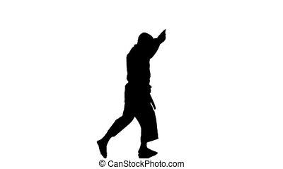 silhouette, exercisme, contre, karaté, fond, blanc, homme