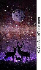 silhouette, famille, ciel, cerf, lune, clair, étoiles, nuit, devant