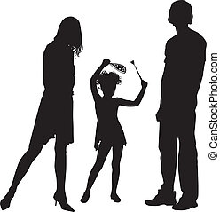 silhouette, famille, heureux