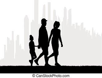 silhouette, famille, vecteur, work., arrière-plan., urbain