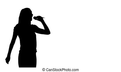 silhouette, femme, chant, animation