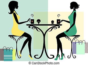 silhouette, femmes commerciales, deux, mode