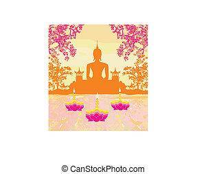 silhouette, festival, krathong, bouddha, sukhothai, loy