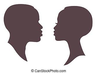 silhouette, figure, homme africain, femme