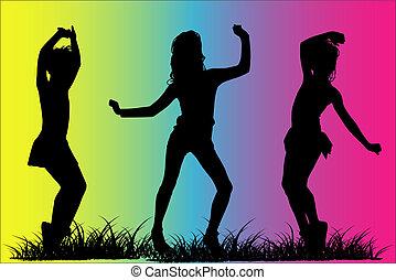 silhouette, filles, heureux