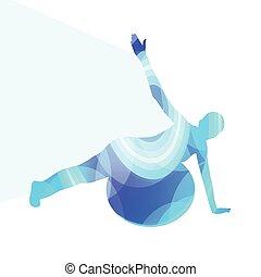 silhouette, fond, balle, femme, fitness, coloré, illustration, concept