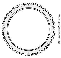 silhouette, fond, roue dentée, blanc