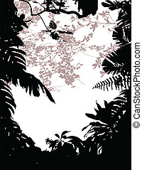 silhouette, forêt, fond