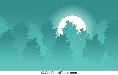 silhouette, forêt, paysage, lune