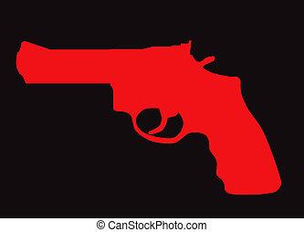 silhouette, fusil, main