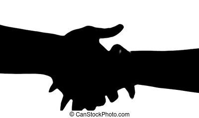 silhouette, gens, deux, isolé, white., mains secouer