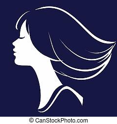 silhouette, girl, illustration, figure, vecteur, beau