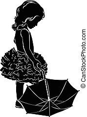 silhouette, girl, parapluie