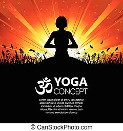 silhouette, girl, pose, yoga