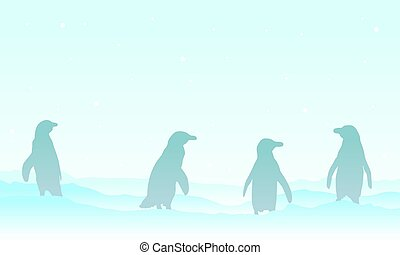 silhouette, glace, famille, manchots