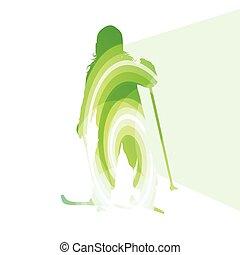 silhouette, gosse, actif, fond, ski, coloré, illustration, concept