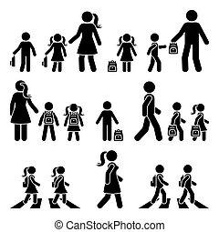 silhouette, gosses, garçon, école, aller, icône, figure, pictogram., passage clouté, sac à dos, girl, vecteur, crosse, marche, parents