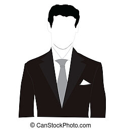 silhouette, hommes, costume noir