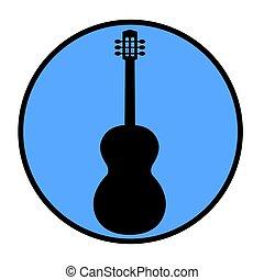 silhouette, icône, guitare, rond