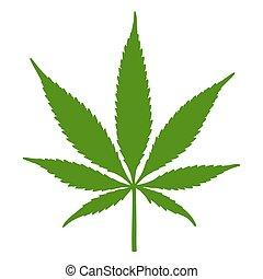 silhouette, illustration, cannabis, vecteur, feuille verte