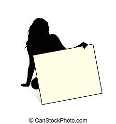 silhouette, illustration, main, sensuelles, girl, carte