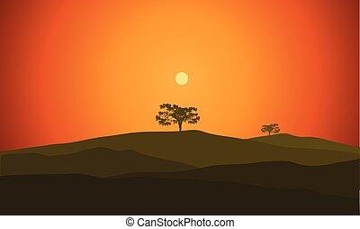 silhouette, illustration, paysage