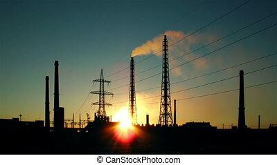 silhouette, ironworlks, coucher soleil
