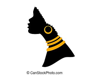 silhouette, isolé, accessories., africaine, vecteur, américain, noir, blanc, tête, femme, profil