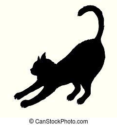silhouette, isolé, chat, arrière-plan., noir, blanc