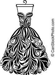 silhouette, isolé, dos, vecteur, robe florale