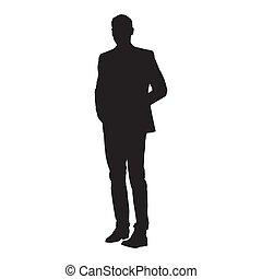 silhouette, isolé, vecteur, complet, homme affaires tient