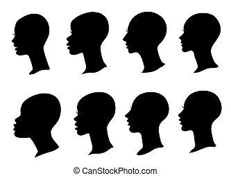 silhouette, isolé, vecteur, noir, faces, ensemble, blanc, femme, chauve, head., profil