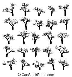 silhouette, isolated., spooky, arbre, eps, vecteur, 8
