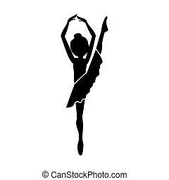 silhouette, jambe haut, danseur, position, cinquième