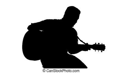 silhouette, jeu guitare, arrière-plan noir, blanc, type