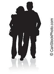 silhouette, jeune famille, heureux